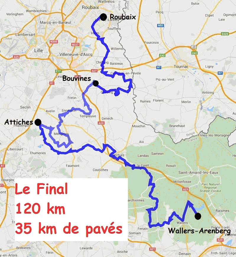 Roubaix Cyclo 120km Map
